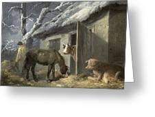 Winter Farmyard Greeting Card by George Morland