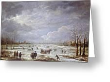 Winter Landscape Greeting Card by Aert van der Neer