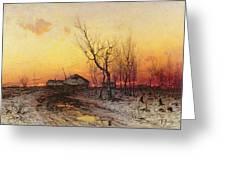 Winter Landscape Greeting Card by Julius Sergius Klever