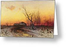 Winter Landscape Greeting Card by Julius Sergius Klever