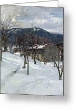 Winter Landscape Near Kutterling Greeting Card by Johann Sperl