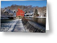 Winter Landscape With A Red Mill Clinton New Jersey Greeting Card by George Oze