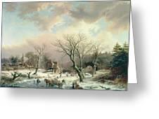 Winter Scene   Greeting Card by Johannes Petrus van Velzen
