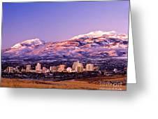 Winter Skyline Of Reno Nevada Greeting Card by Vance Fox