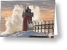 Winter South Haven Lighthouse Greeting Card by Dean Pennala