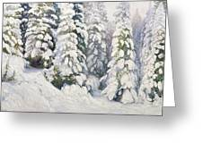 Winter Tale Greeting Card by Aleksandr Alekseevich Borisov