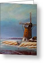 Winter Windmill Greeting Card by Nick Diemel