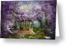 Wisteria Lake Greeting Card by Carol Cavalaris