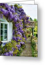 Wisteria Welcome Greeting Card by Susie Peek