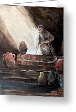 Woman At The Well Greeting Card by Jun Jamosmos