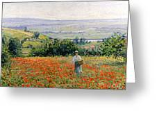 Woman In A Poppy Field Greeting Card by Leon Giran Max