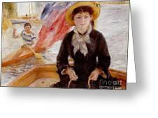 Woman in Boat with Canoeist Greeting Card by Renoir