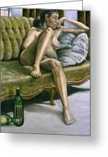 Woman On Green Sofa Greeting Card by John Clum
