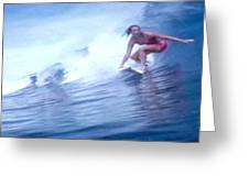 Woman Surfer Greeting Card by Stanley Morganstein