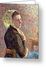 Woman Wearing A Green Headscarf Greeting Card by Camille Pissarro