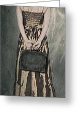 Woman With Suitcase Greeting Card by Joana Kruse