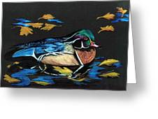 Wood Duck And Fall Leaves Greeting Card by Carol Sweetwood