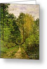 Wooded Path Greeting Card by Claude Monet