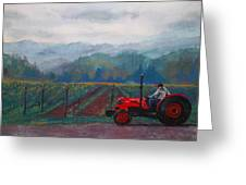 Working The Vineyard Greeting Card by Becky Chappell