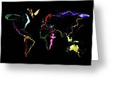 World Map Abstract Paint Greeting Card by Michael Tompsett