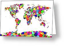 World Map Circles Greeting Card by Michael Tompsett