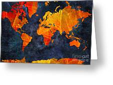 World Map - Elegance Of The Sun - Fractal - Abstract - Digital Art 2 Greeting Card by Andee Design