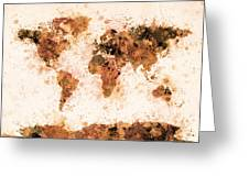 World Map Paint Splashes Bronze Greeting Card by Michael Tompsett