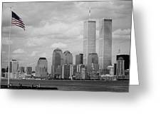 World Trade Towers With Flag In Color Greeting Card by Harvey Engen