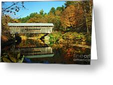 Worrall's Bridge Vermont - New England Fall Landscape Covered Bridge Greeting Card by Jon Holiday