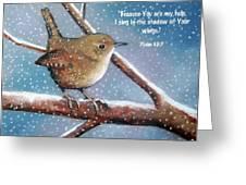 Wren in Snow with Bible Verse Greeting Card by Joyce Geleynse