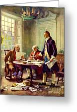 Writing Declaration Of Independence Greeting Card by Pg Reproductions