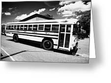 yellow american bluebird school bus in Lynchburg tennessee usa Greeting Card by Joe Fox