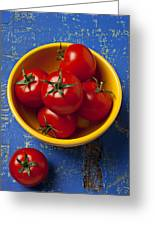 Yellow Bowl Of Tomatoes  Greeting Card by Garry Gay