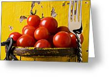 Yellow bucket with tomatoes Greeting Card by Garry Gay