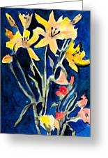 Yellow Daylilies Greeting Card by Arline Wagner