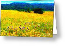 Yellow Hills Greeting Card by Wingsdomain Art and Photography