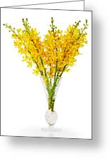 Yellow Orchid In Crystal Vase Greeting Card by Atiketta Sangasaeng