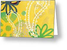 Yellow Paisley Garden Greeting Card by Linda Woods