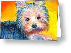 Yorkie Puppy Painting Print Greeting Card by Svetlana Novikova