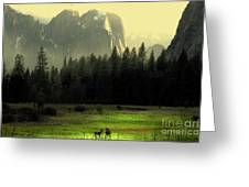 Yosemite Village Golden Greeting Card by Wingsdomain Art and Photography