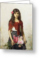 Young Girl With Blossoms Greeting Card by Alexei Alexevich Harlamoff
