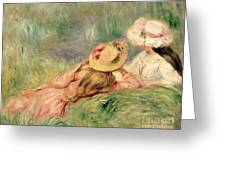 Young Girls On The River Bank Greeting Card by Pierre Auguste Renoir