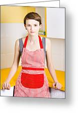 Young House Wife On Yellow Kitchen Background Greeting Card by Jorgo Photography - Wall Art Gallery