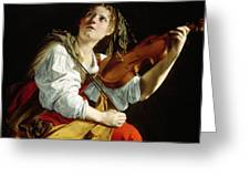 Young Woman With A Violin Greeting Card by Orazio Gentileschi