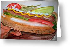 Yummy Chicago Dog Greeting Card by Carol Grimes
