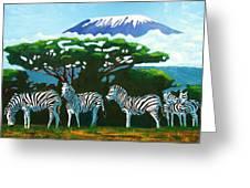 Zebras Greeting Card by Juma Hassan