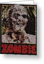 Zombie Bottle Cap Mosaic Greeting Card by Paul Van Scott