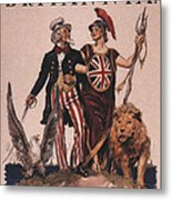 1918 1910s Usa Uncle Sam Ww1  Lions Metal Print by The Advertising Archives
