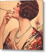 1920s Usa Women Cigarettes Holders Metal Print by The Advertising Archives