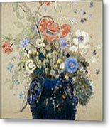 A Vase Of Blue Flowers Metal Print by Odilon Redon